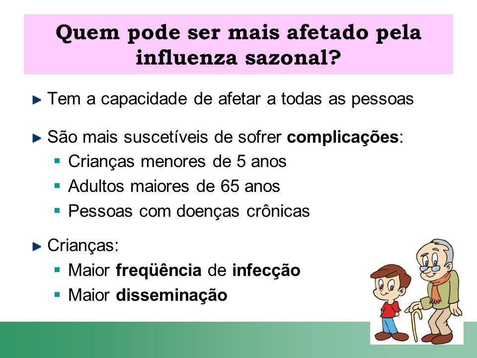 Quem pode ser mais afetado pela influenza sazonal? Tem a capacidade de afetar a todas as pessoas São mais suscetíveis de sofrer complicações: Crianças
