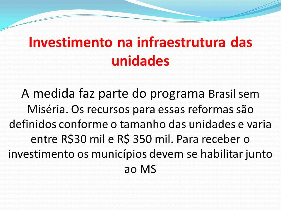 Investimento na infraestrutura das unidades A medida faz parte do programa Brasil sem Miséria. Os recursos para essas reformas são definidos conforme