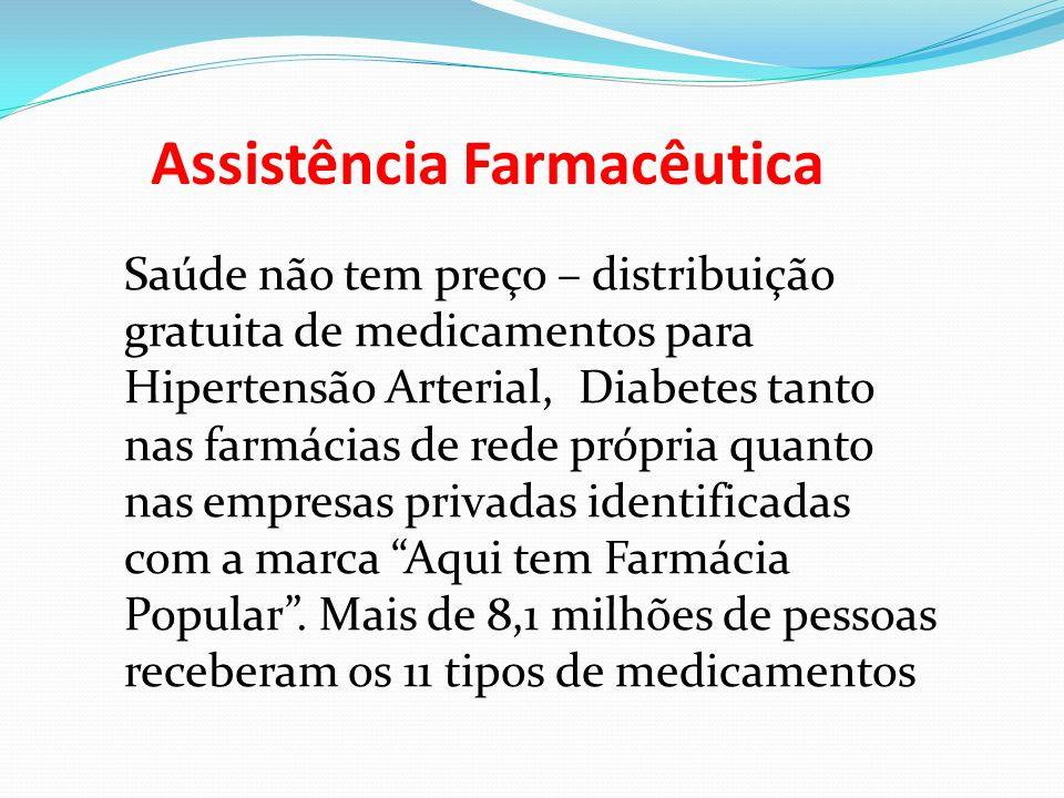Assistência Farmacêutica Saúde não tem preço – distribuição gratuita de medicamentos para Hipertensão Arterial, Diabetes tanto nas farmácias de rede p