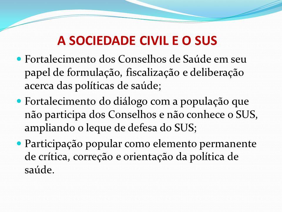 A SOCIEDADE CIVIL E O SUS Fortalecimento dos Conselhos de Saúde em seu papel de formulação, fiscalização e deliberação acerca das políticas de saúde;