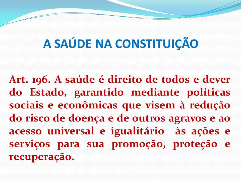 A SAÚDE NA CONSTITUIÇÃO Art. 196. A saúde é direito de todos e dever do Estado, garantido mediante políticas sociais e econômicas que visem à redução