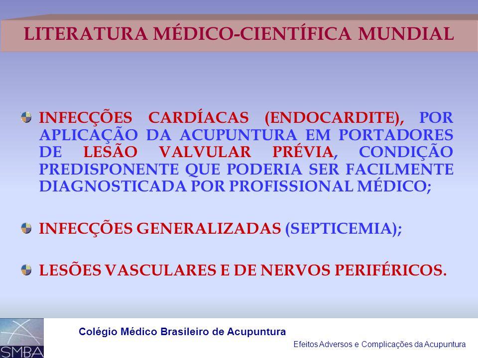 Efeitos Adversos e Complicações da Acupuntura Colégio Médico Brasileiro de Acupuntura PERFURAÇÕES PULMONARES E CARDÍACAS; TRANSMISSÕES DE HEPATITE POR