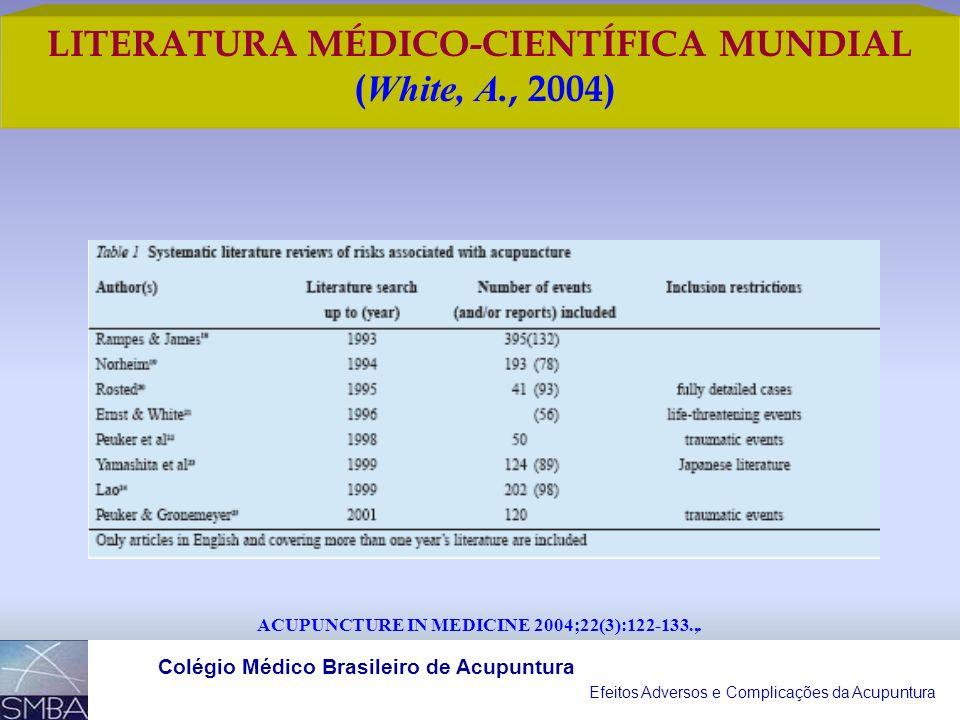 Efeitos Adversos e Complicações da Acupuntura Colégio Médico Brasileiro de Acupuntura OS AUTORES DE TEXTOS SOBRE A ACUPUNTURA NÃO FORAM RELUTANTES EM