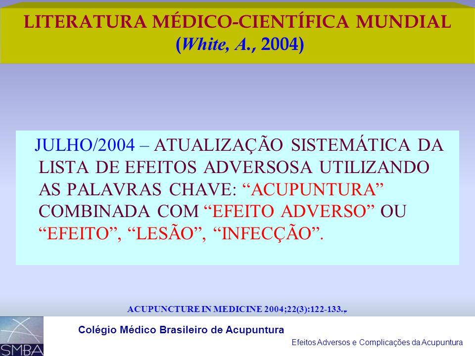 Efeitos Adversos e Complicações da Acupuntura Colégio Médico Brasileiro de Acupuntura LITERATURA MÉDICO-CIENTÍFICA MUNDIAL ( White, A., 2004) ACUPUNCT