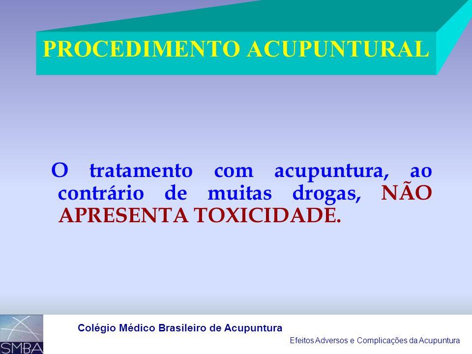 Efeitos Adversos e Complicações da Acupuntura Colégio Médico Brasileiro de Acupuntura 1966 A 2002 7.575 REFERÊNCIAS BIBLIOGRÁFICAS RELACIONADAS À ACUPUNTURA E AO PROCEDIMENTO ACUPUNTURAL 263 REFERÊNCIAS BIBLIOGRÁFICAS EFEITOS ADVERSOS E SUAS COMPLICAÇÕES CORRESPONDE A 3,47% DO TOTAL, MAIORIA RELATOS DE CASOS ( 155 PUBLICAÇÕES) OS AGRAVOS À SAÚDE DETECTADOS PODEM SER CLASSIFICADOS EM TRÊS GRUPOS: LITERATURA MÉDICO-CIENTÍFICA MUNDIAL ( Genschow, F.; 2002),