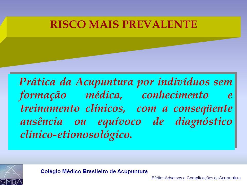 Efeitos Adversos e Complicações da Acupuntura Colégio Médico Brasileiro de Acupuntura A EVIDÊNCIA DE EFEITOS ADVERSOS PRÉVIOS PODE SER USADA PARA AUME