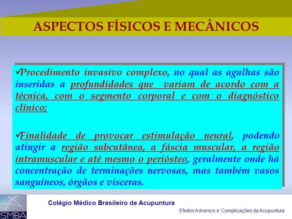 Efeitos Adversos e Complicações da Acupuntura Colégio Médico Brasileiro de Acupuntura RISCO MAIS PREVALENTE Prática da Acupuntura por indivíduos sem f