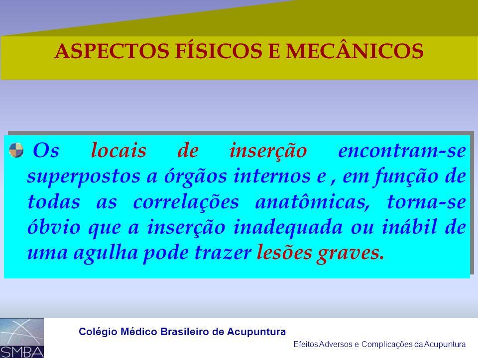 Efeitos Adversos e Complicações da Acupuntura Colégio Médico Brasileiro de Acupuntura Procedimento invasivo complexo, no qual as agulhas são inseridas