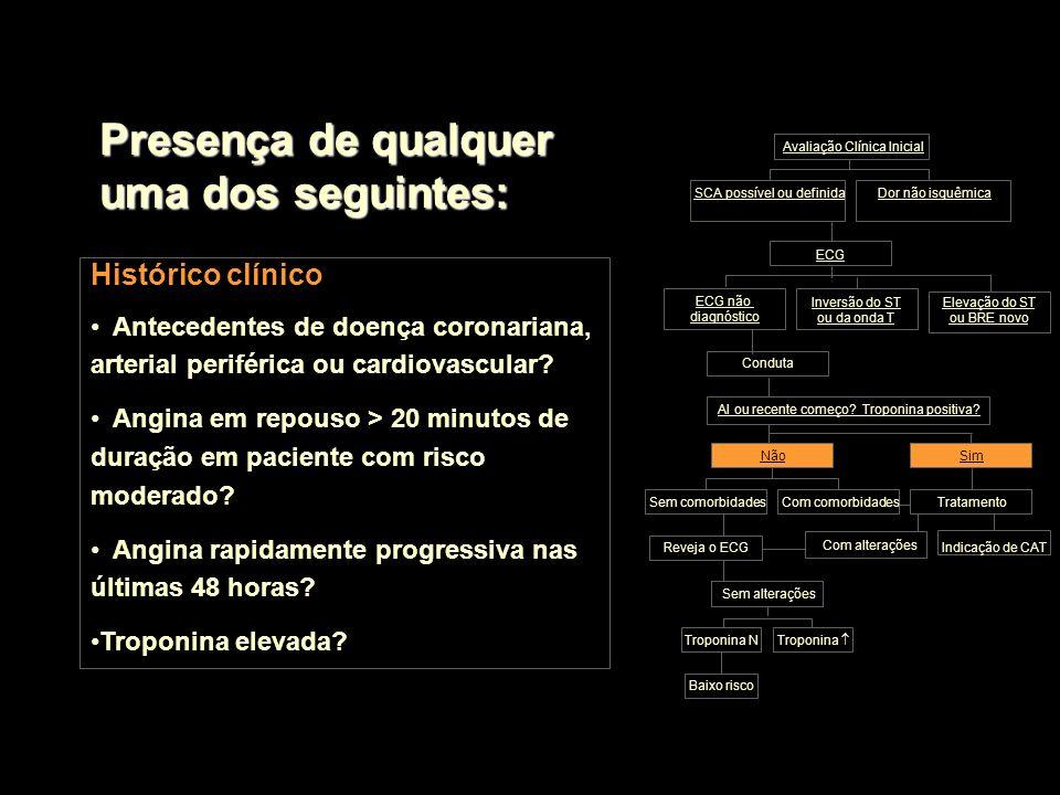 Histórico clínico Antecedentes de doença coronariana, arterial periférica ou cardiovascular? Angina em repouso > 20 minutos de duração em paciente com