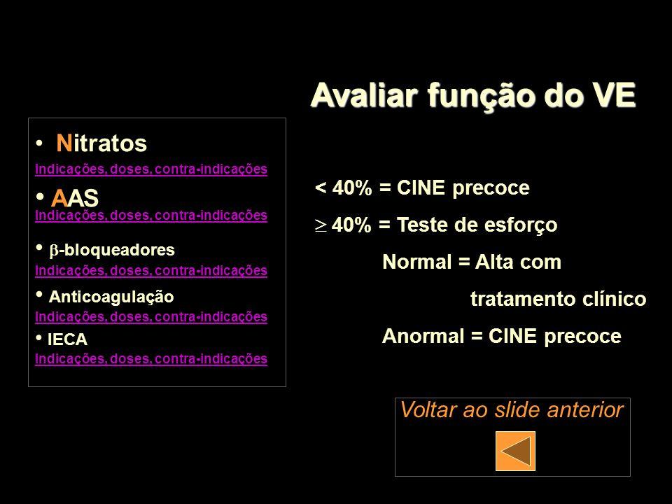 < 40% = CINE precoce 40% = Teste de esforço Normal = Alta com tratamento clínico Anormal = CINE precoce Avaliar função do VE Nitratos Indicações, dose