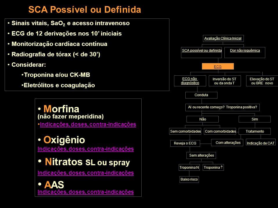 SCA Possível ou Definida Sinais vitais, SaO 2 e acesso intravenoso ECG de 12 derivações nos 10 iniciais Monitorização cardíaca contínua Radiografia de