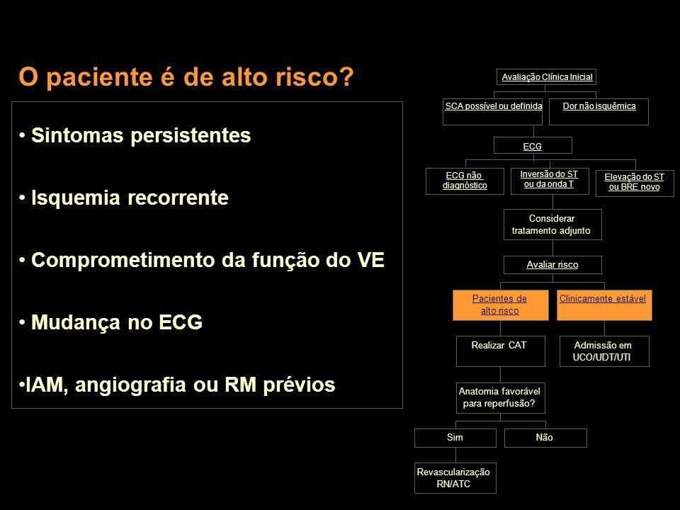 Revascularização RN/ATC SimNão Anatomia favorável para reperfusão? Realizar CATAdmissão em UCO/UDT/UTI Dor não isquêmica ECG SCA possível ou definida