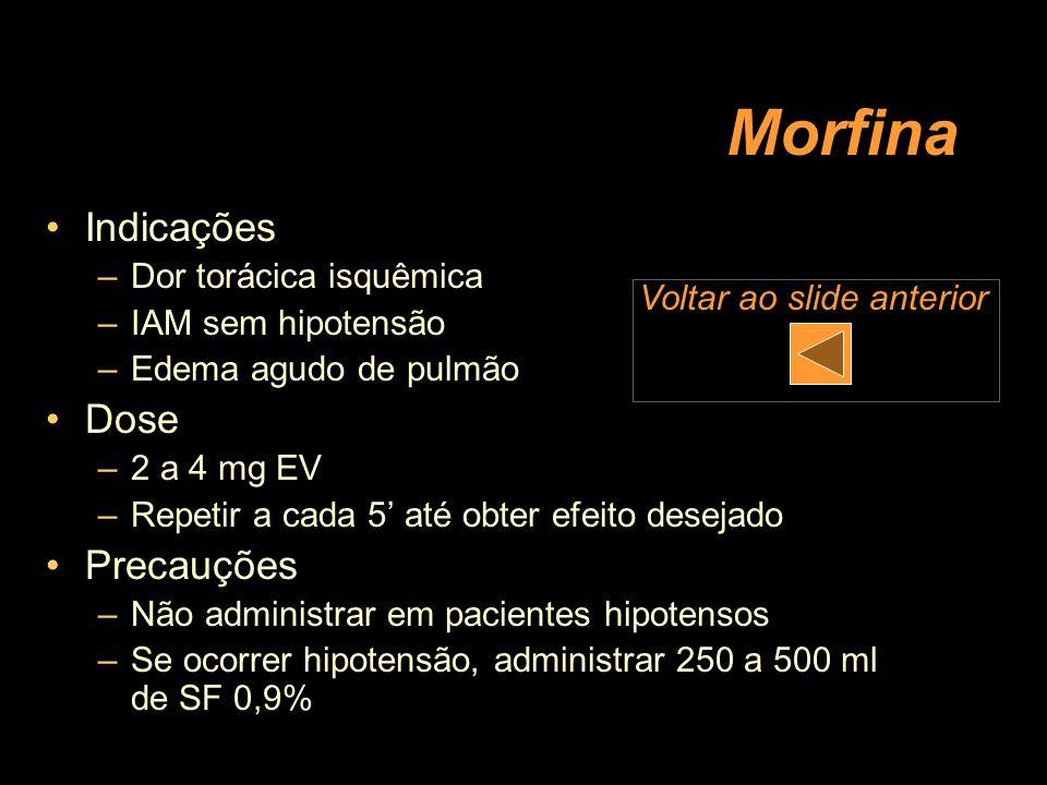 Morfina Indicações –Dor torácica isquêmica –IAM sem hipotensão –Edema agudo de pulmão Dose –2 a 4 mg EV –Repetir a cada 5 até obter efeito desejado Pr