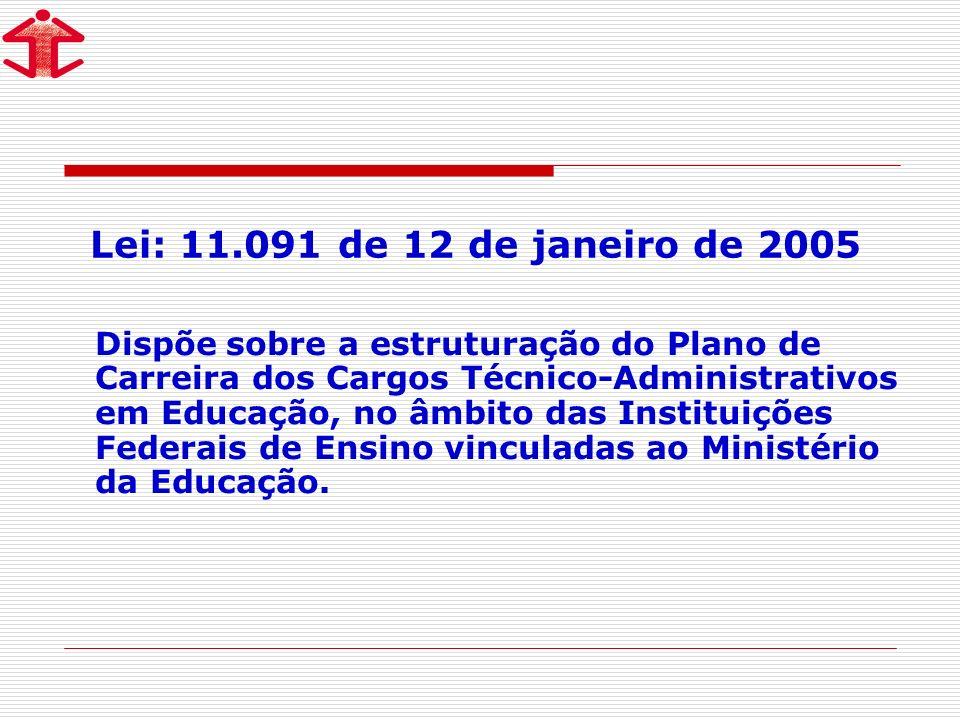 Lei: 11.091 de 12 de janeiro de 2005 Dispõe sobre a estruturação do Plano de Carreira dos Cargos Técnico-Administrativos em Educação, no âmbito das Instituições Federais de Ensino vinculadas ao Ministério da Educação.