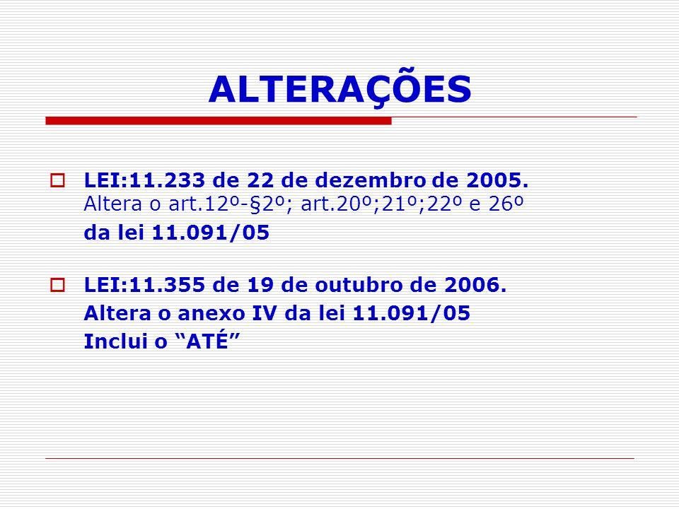 ALTERAÇÕES LEI:11.233 de 22 de dezembro de 2005.