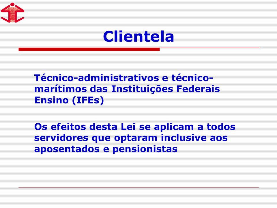 Clientela Técnico-administrativos e técnico- marítimos das Instituições Federais Ensino (IFEs) Os efeitos desta Lei se aplicam a todos servidores que optaram inclusive aos aposentados e pensionistas