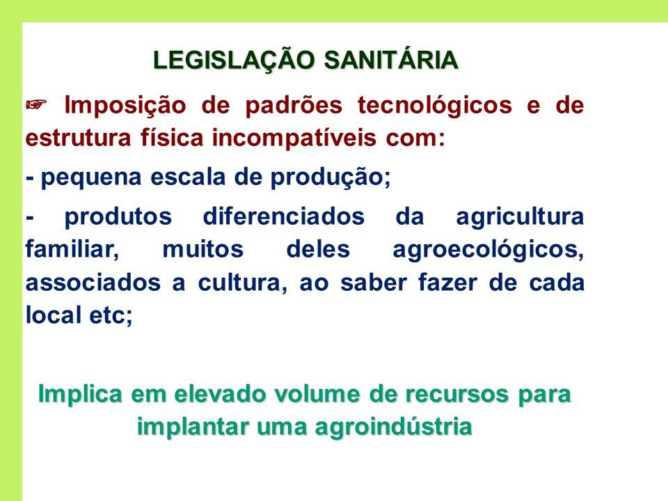 LEGISLAÇÃO SANITÁRIA Imposição de padrões tecnológicos e de estrutura física incompatíveis com: - pequena escala de produção; - produtos diferenciados