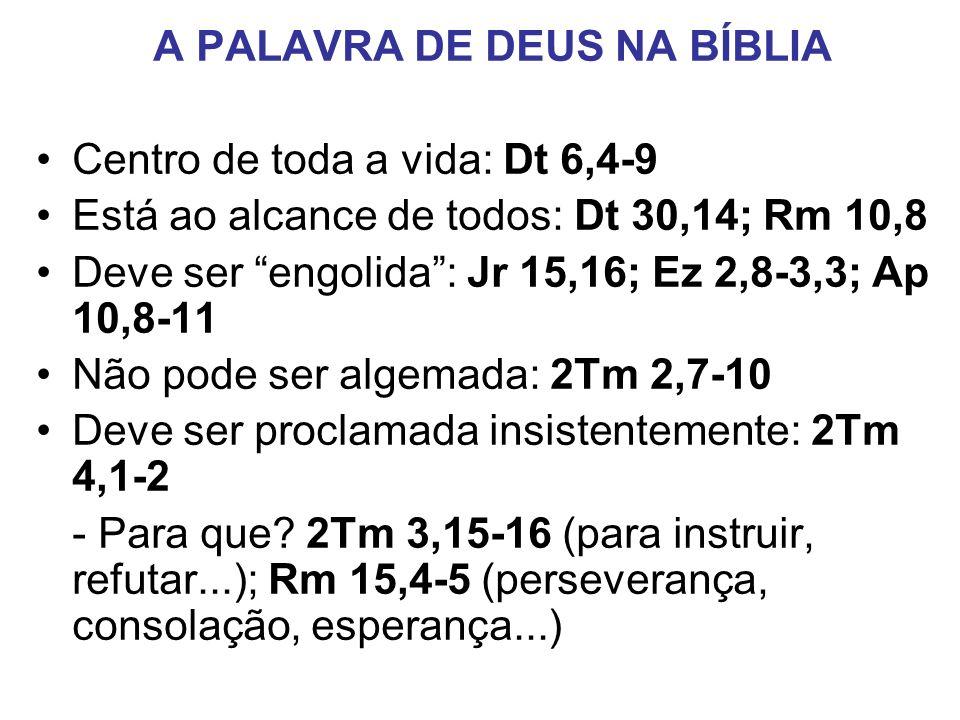 A PALAVRA DE DEUS NA BÍBLIA Centro de toda a vida: Dt 6,4-9 Está ao alcance de todos: Dt 30,14; Rm 10,8 Deve ser engolida: Jr 15,16; Ez 2,8-3,3; Ap 10