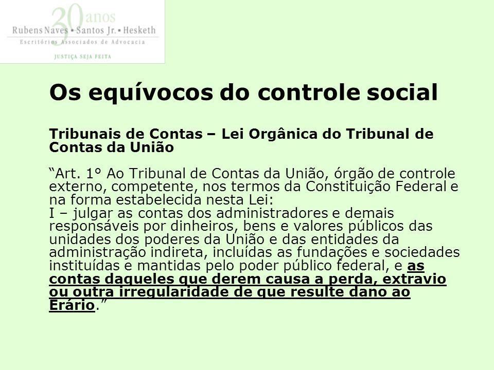 Os equívocos do controle social Tribunais de Contas – Lei Orgânica do Tribunal de Contas da União Art.