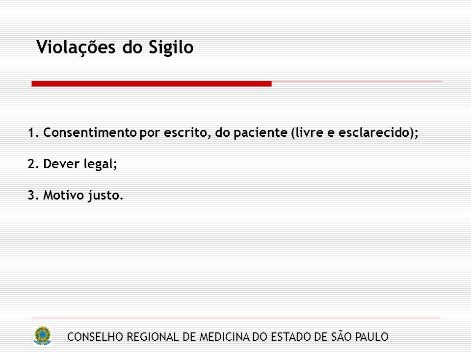 CONSELHO REGIONAL DE MEDICINA DO ESTADO DE SÃO PAULO Violações do Sigilo 1. Consentimento por escrito, do paciente (livre e esclarecido); 2. Dever leg