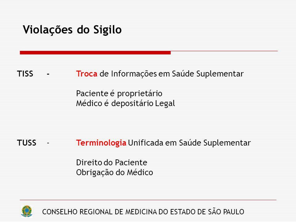 CONSELHO REGIONAL DE MEDICINA DO ESTADO DE SÃO PAULO Violações do Sigilo TISS-Troca de Informações em Saúde Suplementar Paciente é proprietário Médico é depositário Legal TUSS- Terminologia Unificada em Saúde Suplementar Direito do Paciente Obrigação do Médico