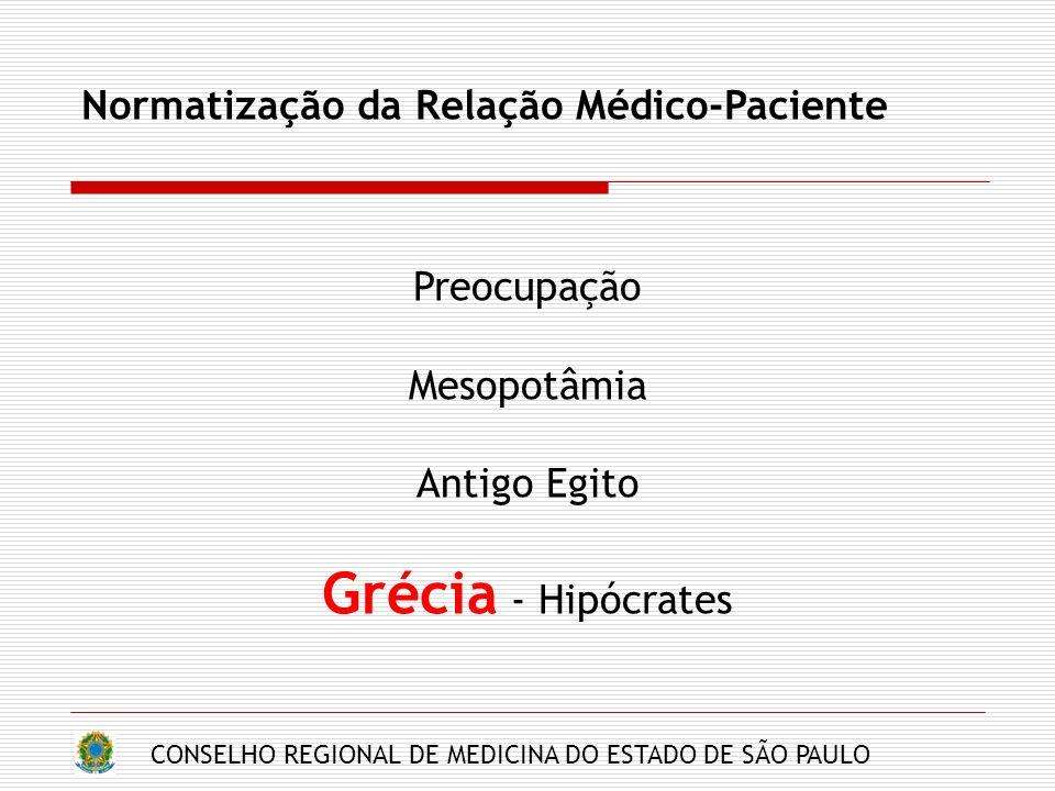 CONSELHO REGIONAL DE MEDICINA DO ESTADO DE SÃO PAULO Normatização da Relação Médico-Paciente Preocupação Mesopotâmia Antigo Egito Grécia - Hipócrates
