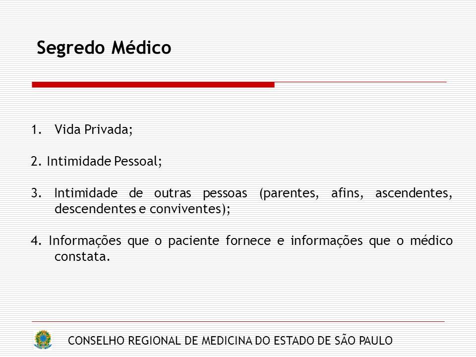 CONSELHO REGIONAL DE MEDICINA DO ESTADO DE SÃO PAULO Segredo Médico 1.Vida Privada; 2. Intimidade Pessoal; 3. Intimidade de outras pessoas (parentes,
