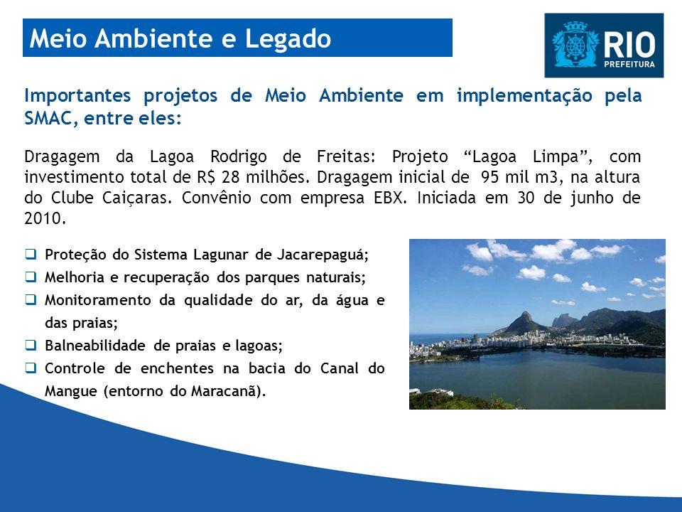 Meio Ambiente e Legado Importantes projetos de Meio Ambiente em implementação pela SMAC, entre eles: Proteção do Sistema Lagunar de Jacarepaguá; Melho