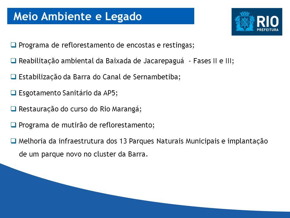 Meio Ambiente e Legado Programa de reflorestamento de encostas e restingas; Reabilitação ambiental da Baixada de Jacarepaguá - Fases II e III; Estabil