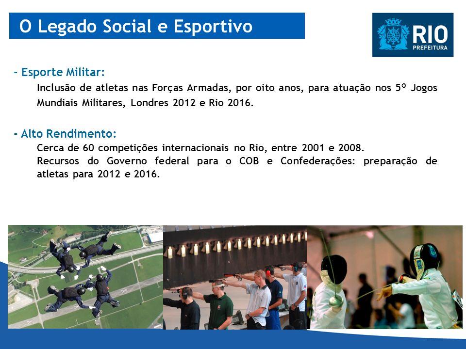 - Esporte Militar: Inclusão de atletas nas Forças Armadas, por oito anos, para atuação nos 5° Jogos Mundiais Militares, Londres 2012 e Rio 2016. - Alt