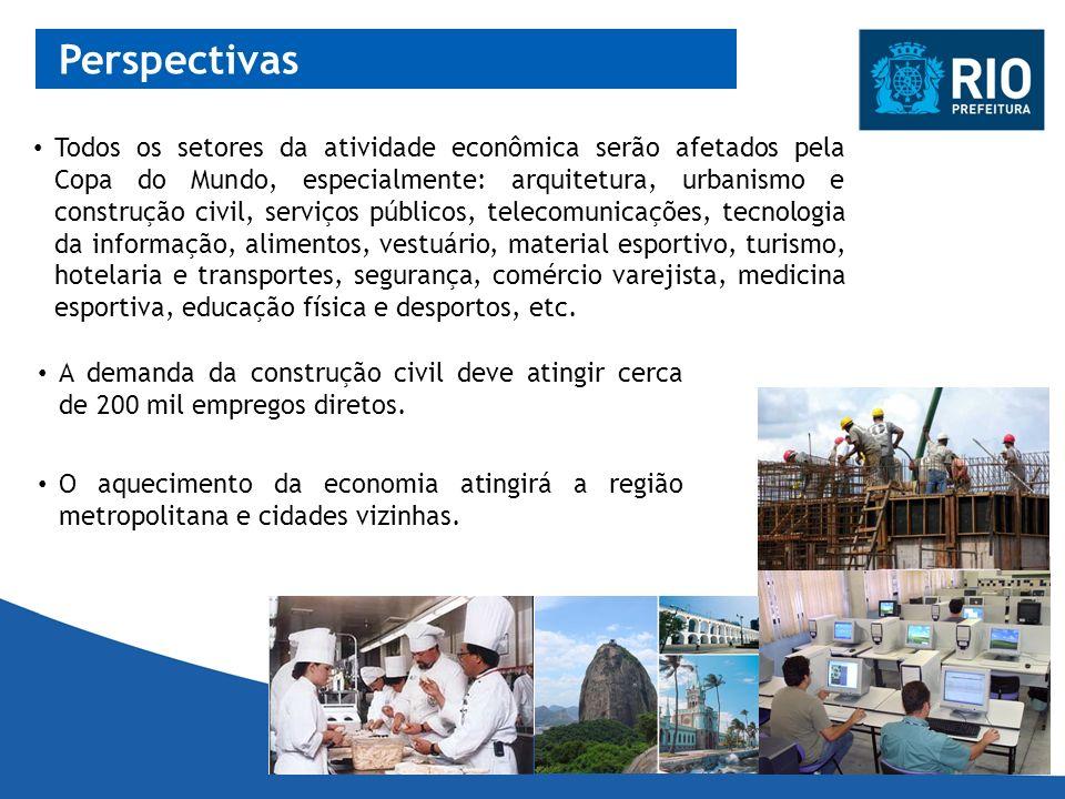 Perspectivas A demanda da construção civil deve atingir cerca de 200 mil empregos diretos. Todos os setores da atividade econômica serão afetados pela