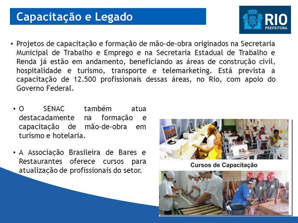 Capacitação e Legado O SENAC também atua destacadamente na formação e capacitação de mão-de-obra em turismo e hotelaria. Projetos de capacitação e for