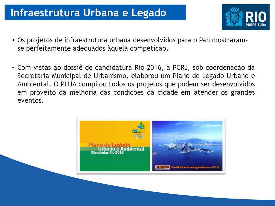 Infraestrutura Urbana e Legado Com vistas ao dossiê de candidatura Rio 2016, a PCRJ, sob coordenação da Secretaria Municipal de Urbanismo, elaborou um