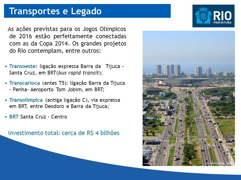 Transportes e Legado As ações previstas para os Jogos Olímpicos de 2016 estão perfeitamente conectadas com as da Copa 2014. Os grandes projetos do Rio
