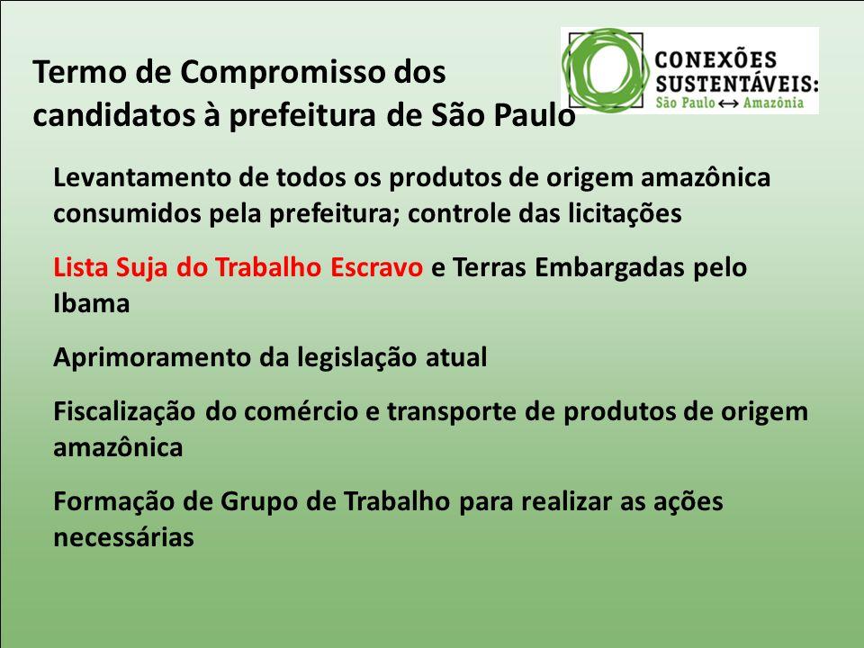 Termo de Compromisso dos candidatos à prefeitura de São Paulo Levantamento de todos os produtos de origem amazônica consumidos pela prefeitura; contro