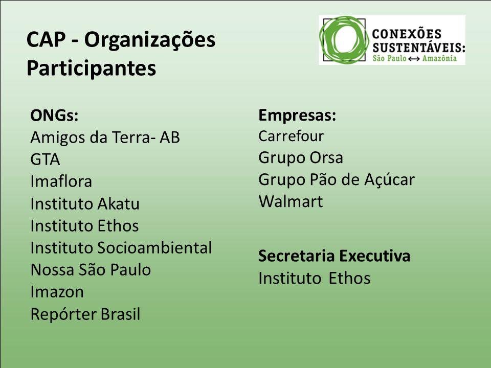 CAP - Organizações Participantes ONGs: Amigos da Terra- AB GTA Imaflora Instituto Akatu Instituto Ethos Instituto Socioambiental Nossa São Paulo Imazo