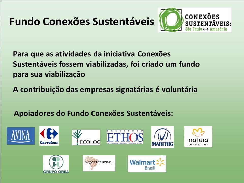 Fundo Conexões Sustentáveis Para que as atividades da iniciativa Conexões Sustentáveis fossem viabilizadas, foi criado um fundo para sua viabilização