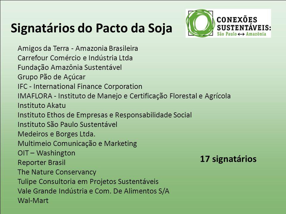Signatários do Pacto da Soja Amigos da Terra - Amazonia Brasileira Carrefour Comércio e Indústria Ltda Fundação Amazônia Sustentável Grupo Pão de Açúc