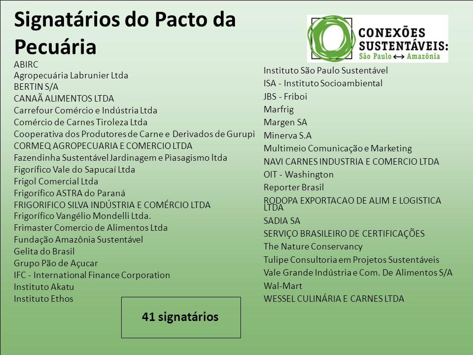 Signatários do Pacto da Pecuária ABIRC Agropecuária Labrunier Ltda BERTIN S/A CANAÃ ALIMENTOS LTDA Carrefour Comércio e Indústria Ltda Comércio de Car