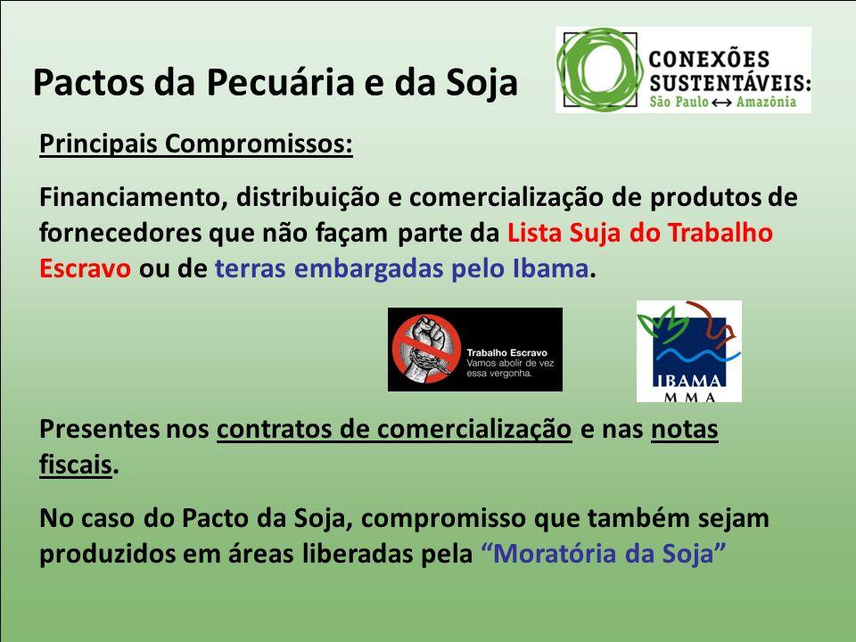 Principais Compromissos: Financiamento, distribuição e comercialização de produtos de fornecedores que não façam parte da Lista Suja do Trabalho Escra
