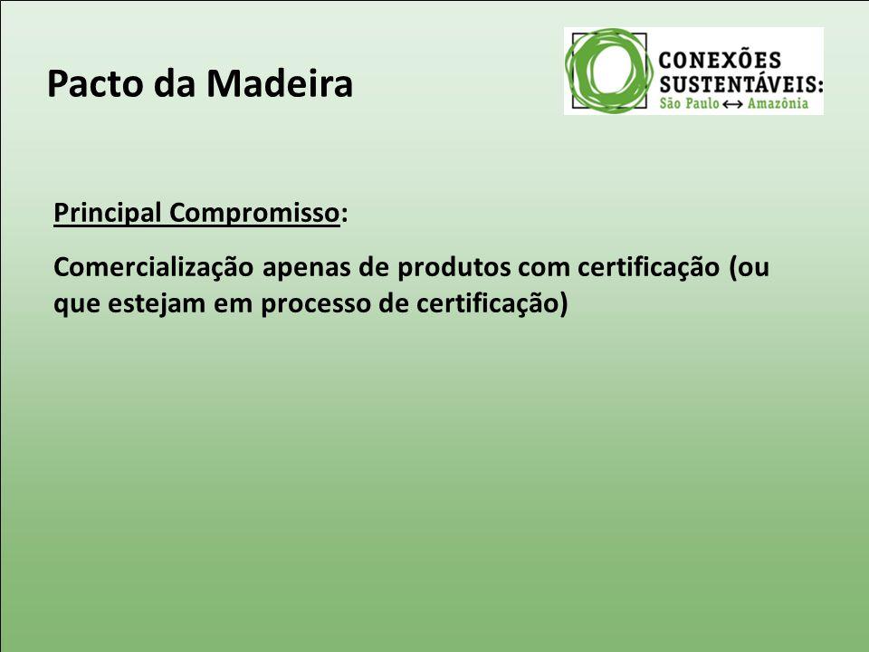 Principal Compromisso: Comercialização apenas de produtos com certificação (ou que estejam em processo de certificação) Pacto da Madeira