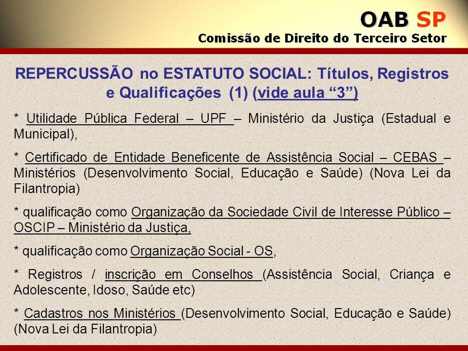 REPERCUSSÃO no ESTATUTO SOCIAL: Títulos, Registros e Qualificações (1) (vide aula 3) * Utilidade Pública Federal – UPF – Ministério da Justiça (Estadu