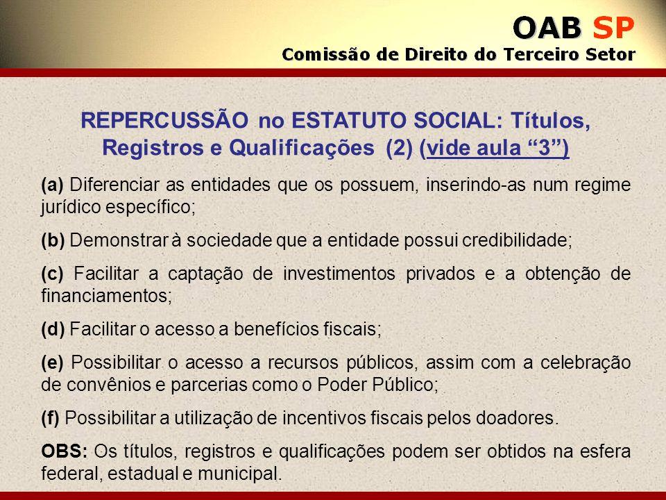 REPERCUSSÃO no ESTATUTO SOCIAL: Títulos, Registros e Qualificações (2) (vide aula 3) (a) Diferenciar as entidades que os possuem, inserindo-as num reg