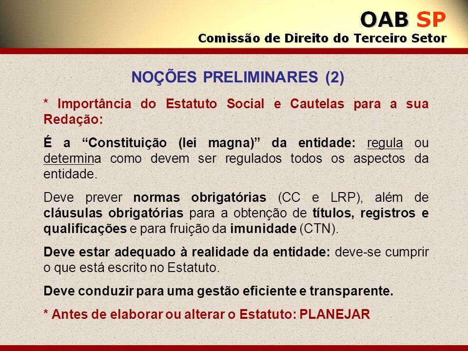 NOÇÕES PRELIMINARES (2) * Importância do Estatuto Social e Cautelas para a sua Redação: É a Constituição (lei magna) da entidade: regula ou determina