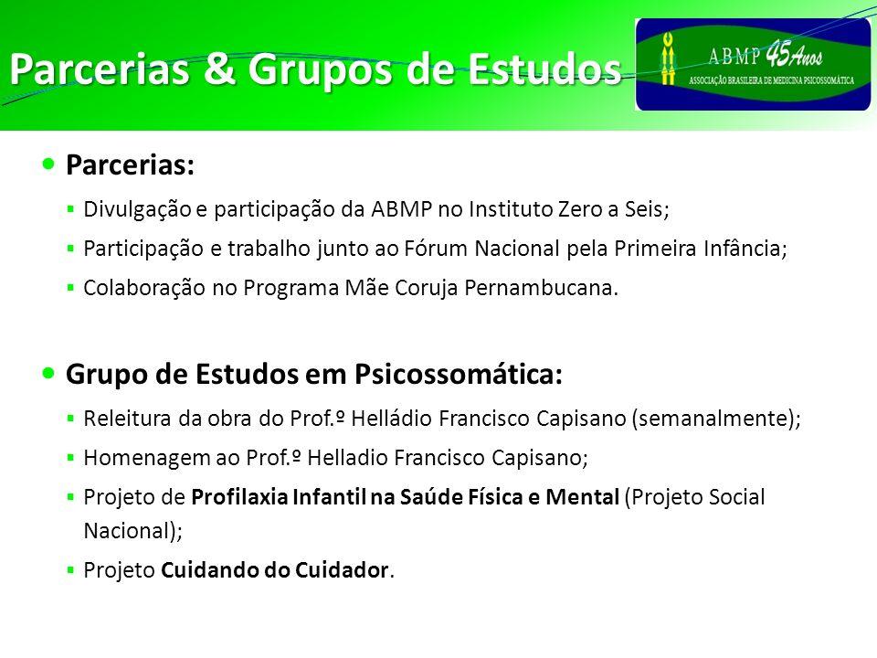 Parcerias & Grupos de Estudos Parcerias: Divulgação e participação da ABMP no Instituto Zero a Seis; Participação e trabalho junto ao Fórum Nacional p