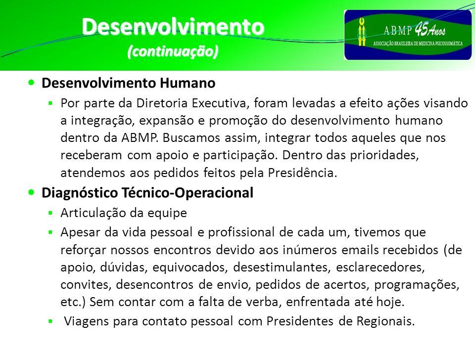 Desenvolvimento(continuação) Desenvolvimento Humano Por parte da Diretoria Executiva, foram levadas a efeito ações visando a integração, expansão e pr