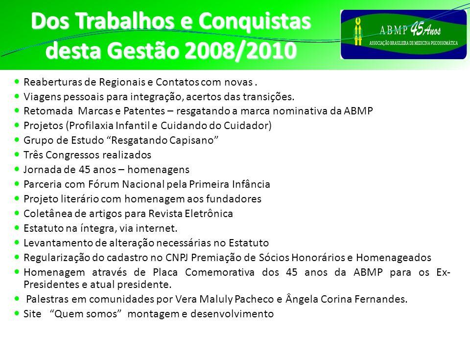 Dos Trabalhos e Conquistas desta Gestão 2008/2010 Reaberturas de Regionais e Contatos com novas. Viagens pessoais para integração, acertos das transiç