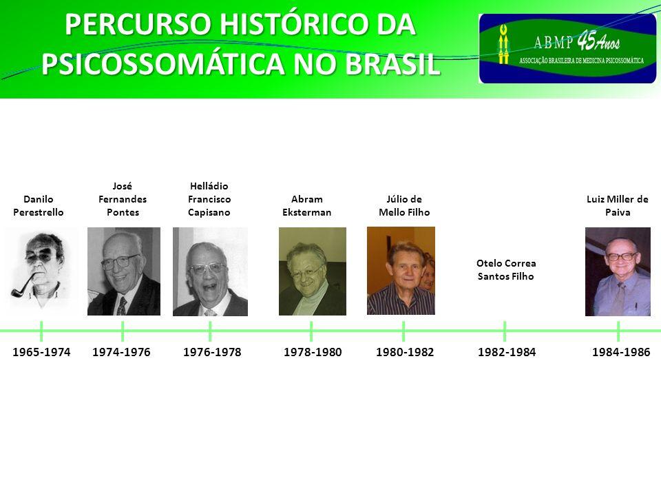 PERCURSO HISTÓRICO DA PSICOSSOMÁTICA NO BRASIL 1965-1974 Danilo Perestrello 1974-1976 José Fernandes Pontes 1976-1978 Helládio Francisco Capisano 1982