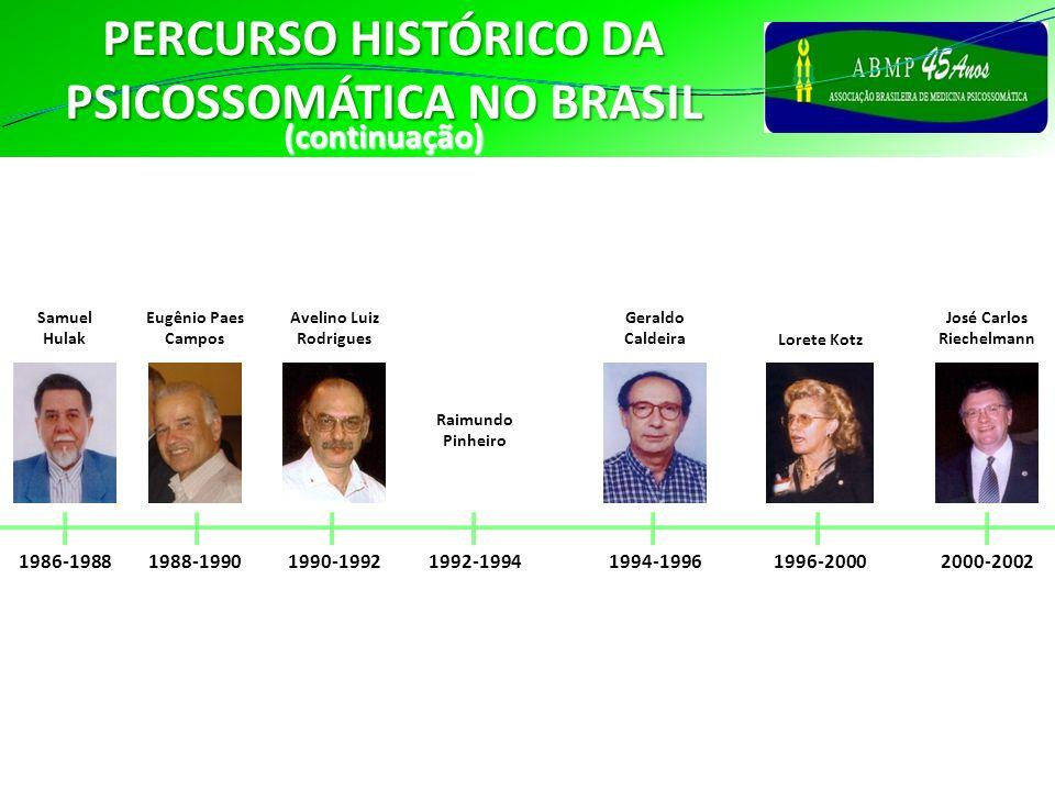 PERCURSO HISTÓRICO DA PSICOSSOMÁTICA NO BRASIL 1992-1994 Raimundo Pinheiro(continuação) 1986-1988 Samuel Hulak 1990-1992 Avelino Luiz Rodrigues 1994-1