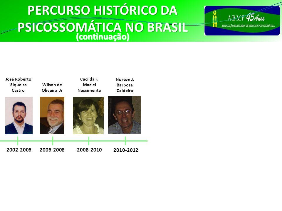 PERCURSO HISTÓRICO DA PSICOSSOMÁTICA NO BRASIL (continuação) 2002-2006 José Roberto Siqueira Castro 2008-2010 Cacilda F. Maciel Nascimento 2006-2008 W